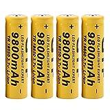 Li-ion battery, Switchali 4PCS 3.7v 9800mAh 18650 skywolfeye Wiederaufladbar Litium-ionen batterie (Schwarz)