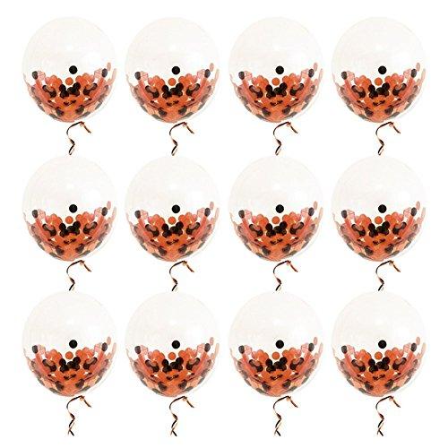 SunBeter 12 Zoll Halloween Latex Ballons Sets Schwarz Orange Konfetti Luftballons mit Band für Halloween Party Dekoration - 12 ()