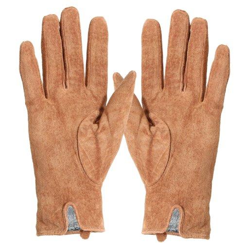 Brubaker Gants en cuir avec fourrure intérieure fine pour femme Taille S M L Disponibles en 3couleurs Marron - Marron clair