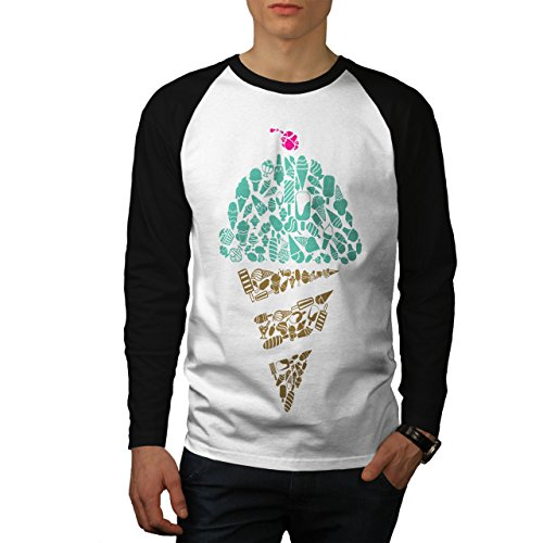 Eis Sahne Kunst Kalt Essen Herren M Baseball lange Ärmel T-Shirt   Wellcoda (Baseball-t-shirts Kubanische)