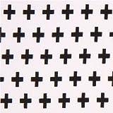 Tela de punto blanca con cruz aspa negra de Robert Kaufman EE. UU.