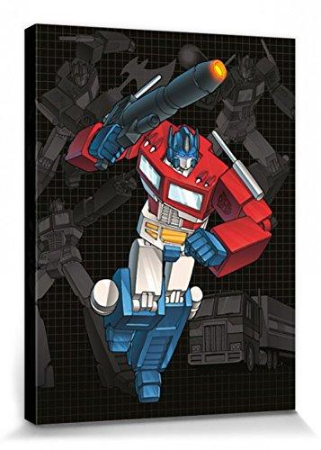 1art1 101017 Transformers - G1, Optimus Prime Grid Poster Leinwandbild Auf Keilrahmen 80 x 60 cm