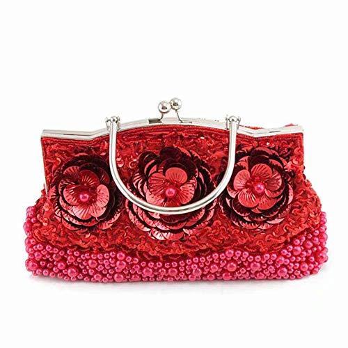GG-Clutches Sac de soirée de Paillettes/Perles / Paillettes Florales Antiques, Pochette de soirée, Pochette de Sac à Main d'embrayage, Feuilles de Paillettes de soirée, idées-Couleurs variées