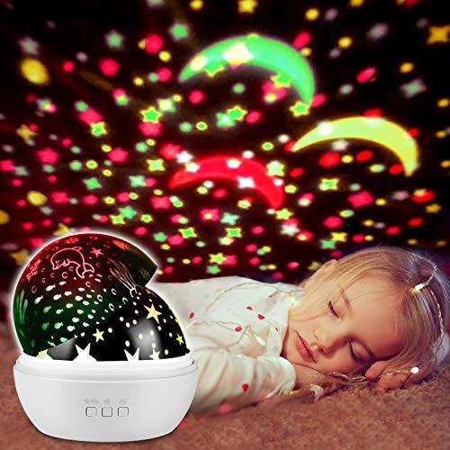 UBEGOOD LED Star Projektor, Sterne Nachtlicht 360° Grad Rotation mit 8 Farben Neuer Typ Sternenhimmel Projektor Nachtlicht und Ozean Projektor Marine Welt Nachtlicht Nachttischlampe für Kinder, Weiß