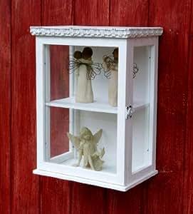 sch ner kleiner h ngeschrank mit glas vitrine im shabby. Black Bedroom Furniture Sets. Home Design Ideas