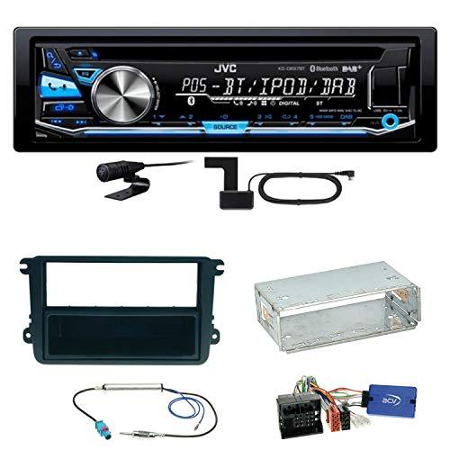 JVC KD-DB97BT Digitalradio Bluetooth Autoradio CD USB AUX MP3 DAB+ Einbauset für EOS Polo Caddy Amarok Scirocco