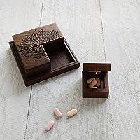 Store Indya, handgefertigt aus Holz Medizin Pille Aufbewahrungsbox Organizer mit Tablett Inlay Health & Personal... preisvergleich bei billige-tabletten.eu