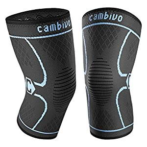 CAMBIVO 2 Pack Knee Brace, Knee Support Compression Sleeve for Running, Arthritis, ACL, Meniscus Tear, Sports, Joint Pain Relief and Injury Recovery