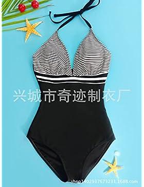 Traje de baño de una sola pieza_en blanco y negro a rayas bañador bañador expuestos atrás, el color de la imagen ,M
