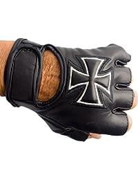 Handschuhe für Biker Fingerlos echt Leder Kreuz