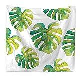 Tapestry Wandbehang, Grüne Tropische Blätter Natürliche Palm Blätter Bananenblatt Pflanze Wand Kunst Zimmer Dekoration Decke,B,78.7X59in