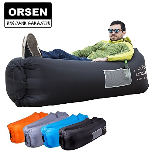 ORSEN Aire sofá sofá Hinchable Impermeable, Air Lounger hinchables, Tumbona, Saco de Aire con Bolsa de Transporte y Cojín Integrado para Interior o Exterior, Viajar, Camping, Fiesta, Mar, Playa