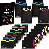 18 manchons de blocage RFID (14 cartes de crédit et 4 passeports). Ultimate Identity Vol Protection Set pour hommes et femmes. La conception intelligente tient dans le portefeuille / sac à main