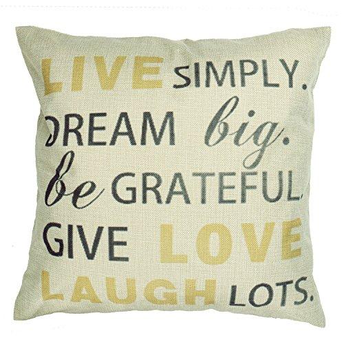 Luxbon Sprichwort Leinen Kissenbezug Lendenkissen Wurfkissenbezug Pillowcase Cafe Haus Auto Deko 45 x 45 cm Live Love Laugh