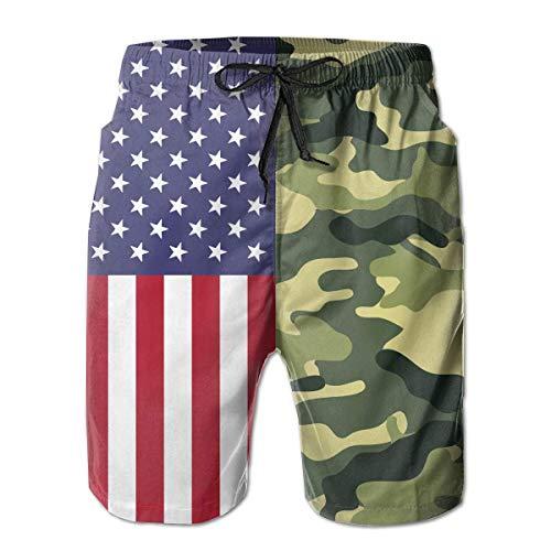 LarissaHi USA Flag und Army Camouflage Herren Boardshorts Badehose Beachwear Relaxed-Fit Beach Trunks L -
