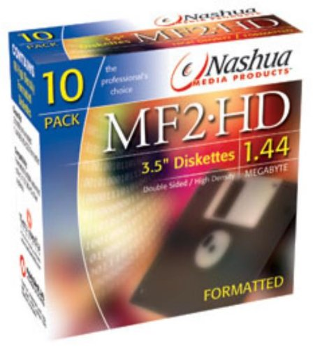 1x10 Pack Nashua Diskettes MF 2HD Computer PC Floppy Disks Formatted 1.44MB 3.5inch Test