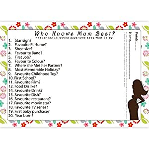 Baby Shower Games Quiz About Mum To Be Who Knows Mum Best for 8 Guests or More Free Delivery