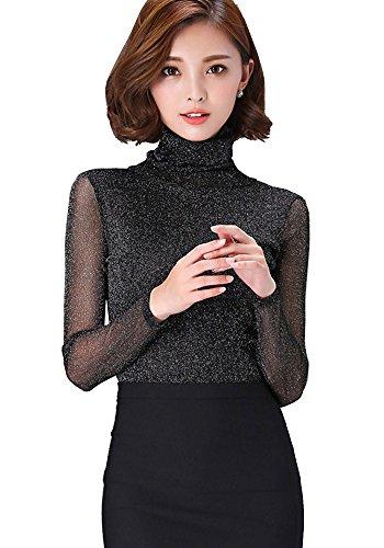 ONECHANCE Frauen Schildkröte Hals Sheer Basic Langarm Blusen Sexy Top Farbe 635 silber schwarz Größe 2XS (Kundenspezifische Tanz Kostüme)