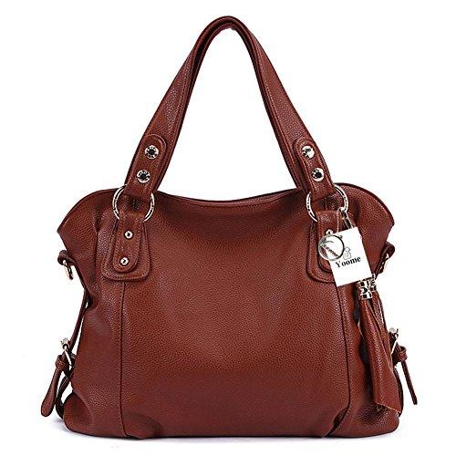 Hobo borse in pelle moda Yoome elegante con borsa a tracolla borsa borsa a tracolla borsa nappe - nero Marrone