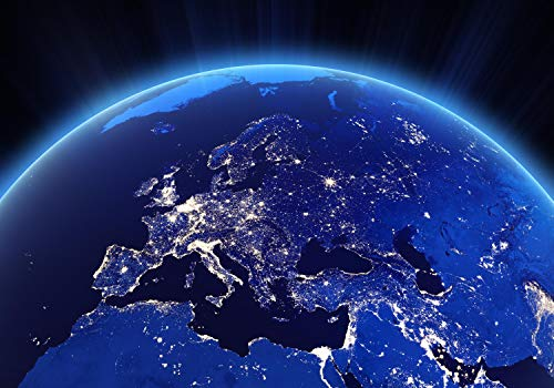 wandmotiv24 Fototapete Lichter Stadt Europa Erde Nacht S 200 x 140cm - 4 Teile Fototapeten, Wandbild, Motivtapeten, Vlies-Tapeten Lichtstrahlen Universum Welt Kontinent M1450 - Stadt 4 Licht