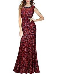 Miusol Damen Kleid Elegant Spitzen Sommer Rueckenfrei Aemerlos Langes Fishtail?Brautjungfer Cocktailkleid Dunkelblau Gr.S-XXL