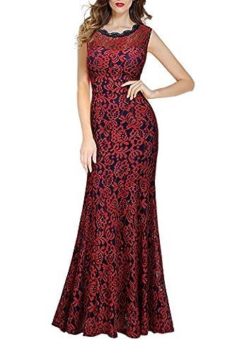 Miusol Damen Kleid Elegant Spitzen Langes Brautjungfer Rueckenfrei Aemerlos Fishtail Cocktailkleid Rot Gr.L