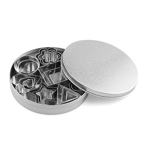 Mini Keks-Ausstecher urbest Geometrische Formen Edelstahl Tiny Backen Formen für Küche, Halloween & Weihnachten mit Metall Box, 24Stück
