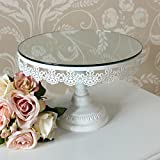 Melody Maison Round White Mirrored Cake Stand