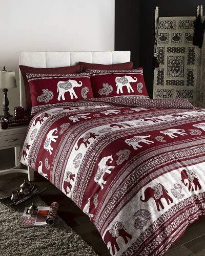 De cama Empire Elephant Printed Animal Print Duvet Cover Set, Wine, Double by DE CAMA