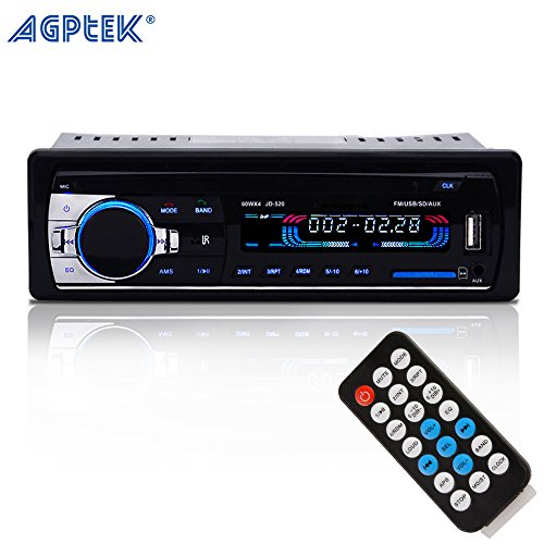 agptek-in-dash-car-stereo-bluetooth-audio-receiver-with-microphone-12v-aux-in-fm-radio-adapter-car-m