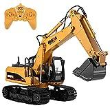 Arshiner 15 Kanal Fernbedienung Bagger Full Functional Bau Traktor Bagger Spielzeug mit 2.4Ghz Transmitter und Metall Schaufel