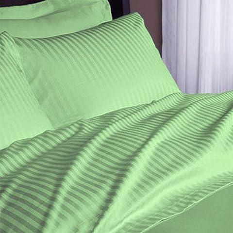 British Choice Linen Egyptian Cotton 500-Thread-Count Sateen Double/Small Double Size 3 PCs Set (1 Duvet Cover Zipper Closer & 2 Pillow Cover), Sage