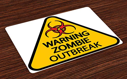 ABAKUHAUS Zombie Platzmatten, Warnung der Zombie-Ausbruch-Zeichen-Friedhofs-Infektion-Halloween-Grafik, Tiscjdeco aus Farbfesten Stoff für das Esszimmer und Küch, Braun Gelb Schwarz Rot