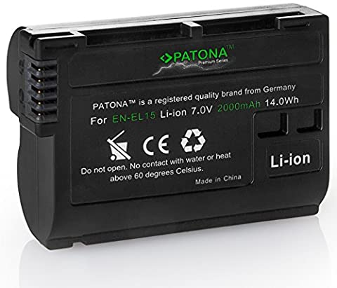 Bundlestar PATONA PREMIUM Akku auch für Nikon D500 D850 D7500 EN-EL15 EN-EL15a (echte 2000mAh) Stufe II -- Intelligentes Akkusystem mit Chip Technologie
