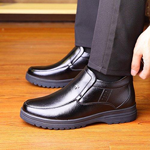 Uomini Invernali Scarpe Da Cotone Top-top Caldo Scarpe Da Padre Di Mezza Età Soft Bottom Non Antiscivolo Le Scarpe Da Cotone Anziane Black