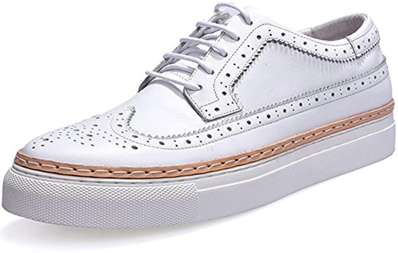 Bullock Herrenschuhe Geschnitzt Freizeitschuhe Dick Soled Mode Herren Leder Flut Schuhe White 43