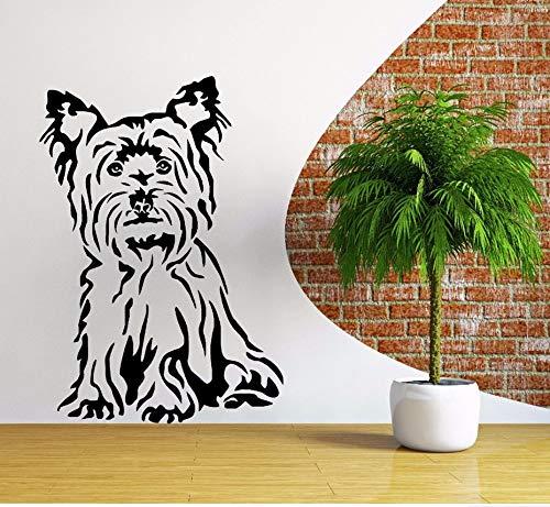 Zxfcczxf Hund Vinyl Wandtattoo Animal Themed Wandaufkleber Pet Shop Dekoration Terrier Hund Wandbild Vinyl Kunst 55 * 80 Cm