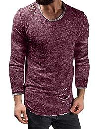 Cebbay Camisa de Manga Larga para Hombres Camiseta Camisa de Entrenamiento O-Cuello Agujero Delgado Moda Casual para Mantener el Calor en otoño e Invierno