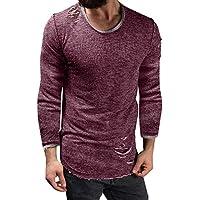 UJUNAOR Herrenmode Lässig Shirt Persönlichkeit Loch Top Bluse Unregelmäßig Langarm T-Shirt