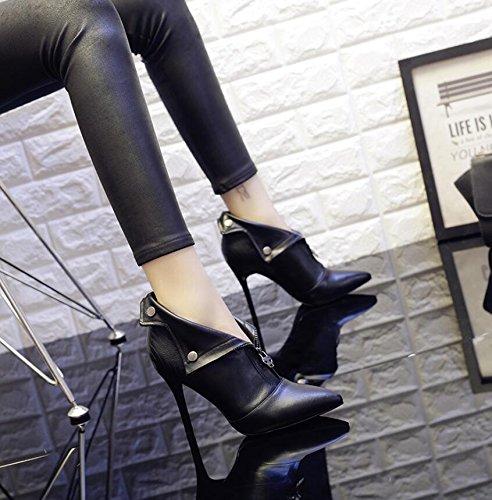 Et Version Coréenne Femme 36 Nu Démarre KHSKX Avec La Noir Bottes Martin High La DHiver De Bottes Astuce Femme 9Cm Correctement Polyvalent Velours Heel Bottes Plus Shoes wfqBOqY0