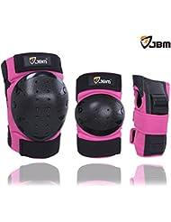 JBM rodilla cojines codo cojines muñeca guardias protecciones conjunto para rodillo en línea patinaje Ciclismo Ciclismo Scooter Skate BMX montaña bicicleta patines extremo deporte (Color de rosa, Adulto)