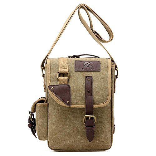 Sacchetto di spalla del messaggero di affari degli uomini del sacchetto di spalla della tela di canapa Khaki