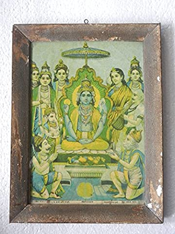 Rare Vintage God Badrinarayan Picture Litho Print Framed Photograph ,Collectible
