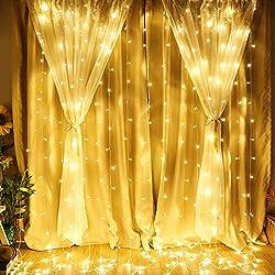 LE Cortina de Luces LED 3m x 3m 306 LED, Blanco Cálido, Resistente al Agua, 8 Modos de Luz, Decoración de casa, luces de Navidad, etc
