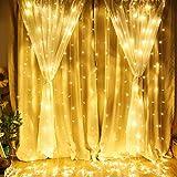 LE Lighting EVER Rideau Lumineux Guirlande Blanc Chaud 3m*3m, Guirlandes Lumineuses Extérieur 8 Modes Étanche IP44 pour Décoration Noël, Mariage, Fenêtre, Jardin, Terrasse, Fêtes, etc.