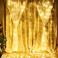 LE 3m x 3m Lichtervorhang, LED Lichterkette 306 LEDs mit 8 Lichtmodi, Strombetrieben mit Stecker, ideale Weihnachtsdeko für Innen, Vorhang, Deko, Haus, Fenster, Bett usw. Warmweiß