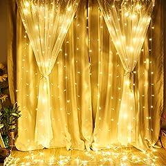 Idea Regalo - LE Stringa Luminosa Led per Finestra Balcone 3x3m 306 LED, Catena Luci Bianco Caldo, Funzione Memoria Lucine Fatate Romantiche per Decorazione Feste Natale
