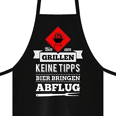 YORA Grillschürze für Männer - Bin am Grillen - lustige Kochschürze als ideales Geschenk für Männer