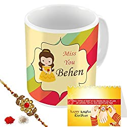 Aart Store Miss You Behen Multi Colours Printed Mug, Greeting Card, Rakhi, Roli, Chawal Gift Pack for Brothers/Sisters to Enjoy Raksha Bandhan Festival.