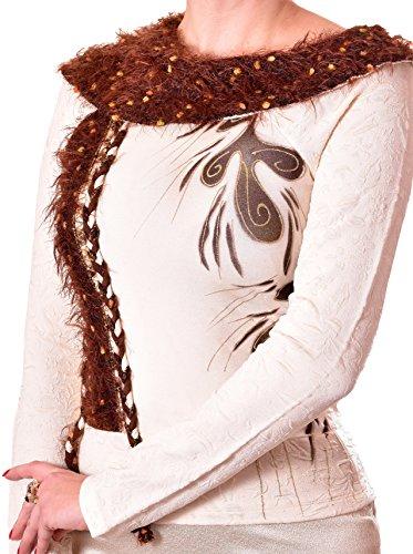 PoshTops Damen Bluse mit Asymmetrischer Kragen Dehnbares Strukturiertem Material Damenshirt Langarm Größen S